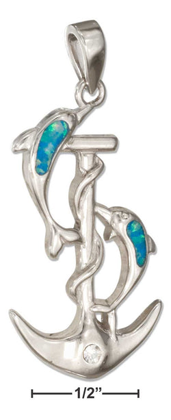 Sterling Silver Anchor And Dolphins Pendant With Synthetic Blue Opal | Jewelry Store