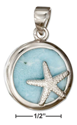 Sterling Silver Round Larimar Pendant With Starfish | Jewelry Store