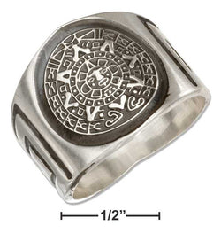 Sterling Silver Mens Aztec Calendar Band Ring | Jewelry Store
