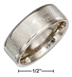 Stainless Steel 8mm Wedding Band Ring With Lords Prayer And Cross | Jewelry Store