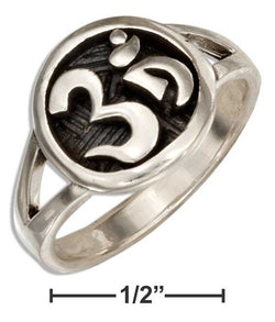 "Sterling Silver Om Or ""Ohm"" Symbol Ring With Split Shank 
