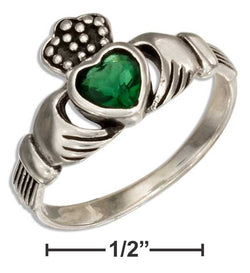 Sterling Silver Irish Claddagh Ring With Green Glass Heart | Jewelry Store