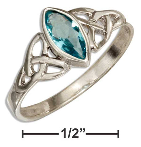 Sterling Silver Celtic Trinity Knot Ring With Blue Glass Marquise | Jewelry Store