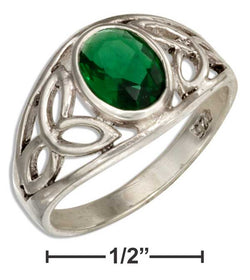 Sterling Silver Celtic Trinity Knots Band Ring With Green Glass | Jewelry Store