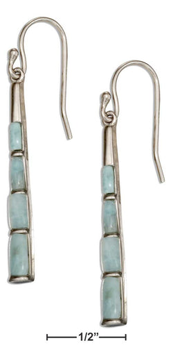 Sterling Silver Tapered Bar Larimar Earrings | Jewelry Store