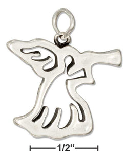 Sterling Silver Silhouette Angel With Trumpet Charm | Jewelry Store