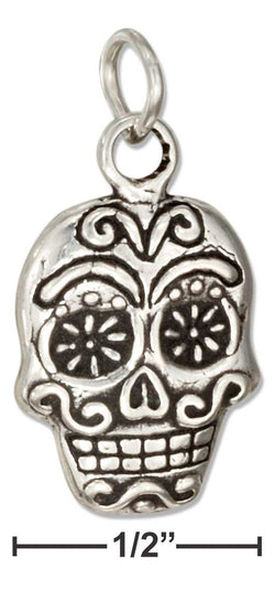 Sterling Silver Mexican Sugar Skull Charm | Jewelry Store
