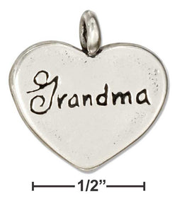 "Sterling Silver ""Grandma"" Message Heart Pendant 