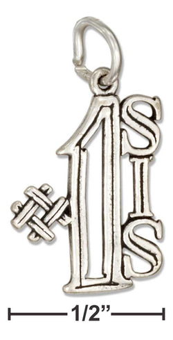 "Sterling Silver ""#1 Sis"" Message Charm 