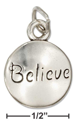 "Sterling Silver Round Message ""Believe"" Charm 