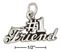 "Sterling Silver Message ""#1 Friend"" Charm 