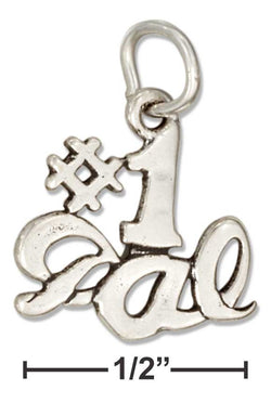 "Sterling Silver Message ""#1 Gal"" Charm 