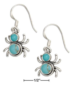 Sterling Silver Widow Spider With Simulated Turquoise Conchos Dangle Earrings | Jewelry Store