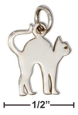Sterling Silver Silhouette Scared Cat Charm | Jewelry Store