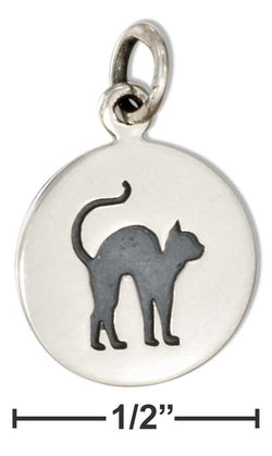 Sterling Silver Round Disk With Scared Black Cat Charm | Jewelry Store