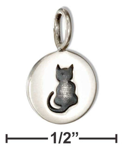 Sterling Silver Small Round Disk With Sitting Cat Charm | Jewelry Store