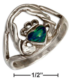 Sterling Silver Synthetic Green Opal Claddagh Ring | Jewelry Store