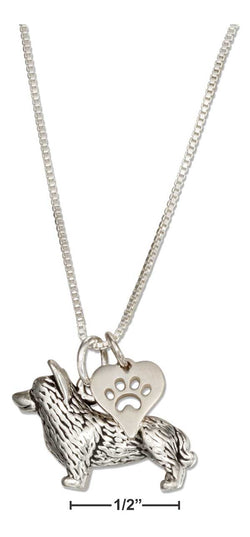 "Sterling Silver 18"" Corgi Necklace With Dog Paw Print Heart Pendant 