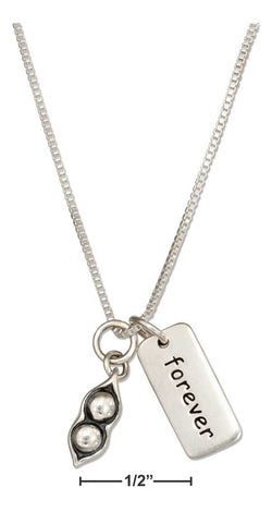 "Sterling Silver 18"" Peas In A Pod Best Friends Necklace 