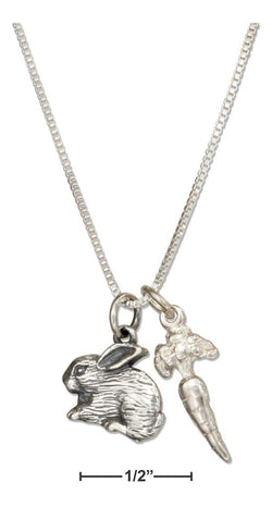 "Sterling Silver 18"" Carrot And Bunny Rabbit Pendant Necklace 