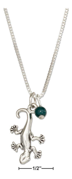"Sterling Silver 18"" Gecko Lizard Necklace With Green Marble Bead 