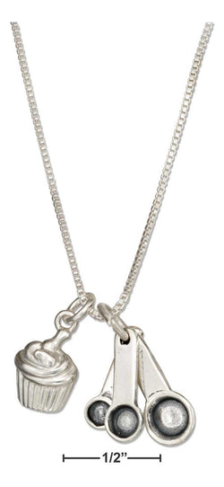 "Sterling Silver 18"" Measuring Spoons And Cupcake Necklace 