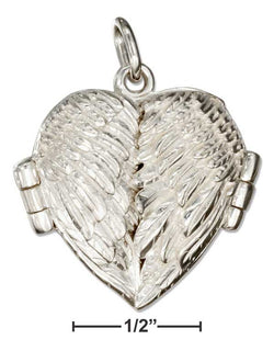 Sterling Silver High Polish Angel Wings Heart Locket | Jewelry Store