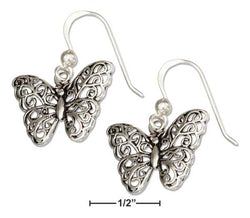 Sterling Silver Filigree Butterfly Earrings On French Wires | Jewelry Store