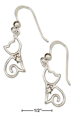 Sterling Silver Silhouette Sitting Cat Earrings On French Wire | Jewelry Store