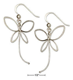 Sterling Silver Open Butterfly Earrings On French Wires With Tail Trailing | Jewelry Store