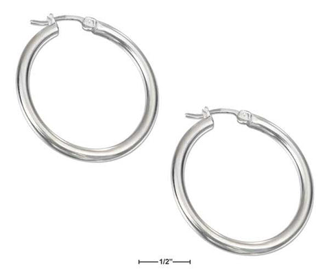 Sterling Silver 35mm Tubular Hoop Earrings With French Locks | Jewelry Store