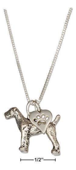 "Sterling Silver 18"" Airedale Pendant Necklace With Dog Paw Print Heart Charm 