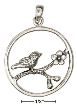 Sterling Silver Round Bird Pendant On Flowering Branch | Jewelry Store
