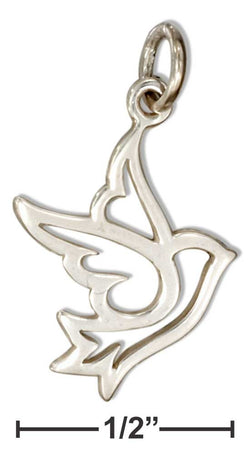 Sterling Silver Silhouette Bird Peace Dove Charm | Jewelry Store