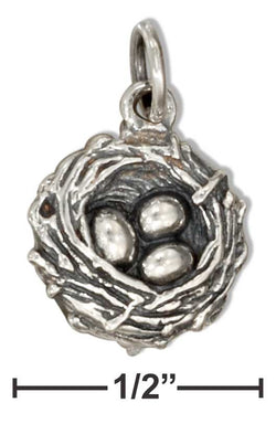 Sterling Silver Eggs In Birds Nest Charm | Jewelry Store