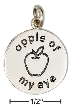 "Sterling Silver Round ""Apple Of My Eye"" Charm With Apple 