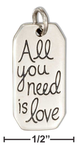 "Sterling Silver ""All You Need Is Love"" Charm 