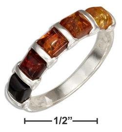 Sterling Silver Multicolor Squares Baltic Amber Ring | Jewelry Store