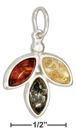 Sterling Silver Triple Marquise Multicolor Amber Pendant | Jewelry Store