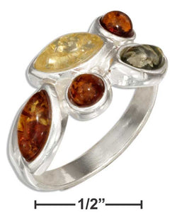 Sterling Silver Round And Marquise Multicolor Amber Ring | Jewelry Store