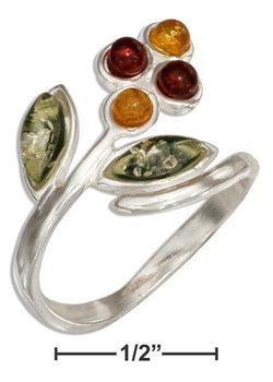 Sterling Silver Multicolor Baltic Amber Flower Bypass Ring | Jewelry Store