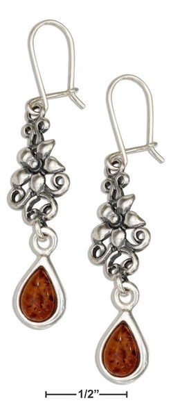 Sterling Silver Flower Earrings With Honey Baltic Amber Teardrop | Jewelry Store