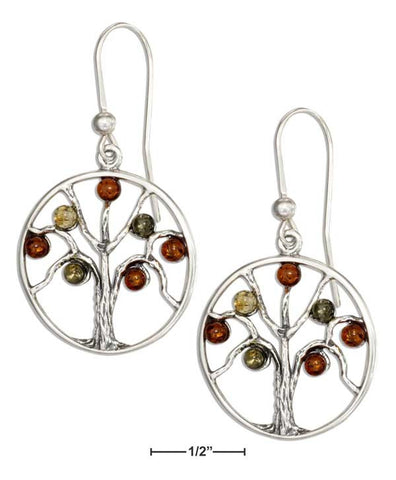 Sterling Silver Multicolor Baltic Amber Tree Earrings | Jewelry Store