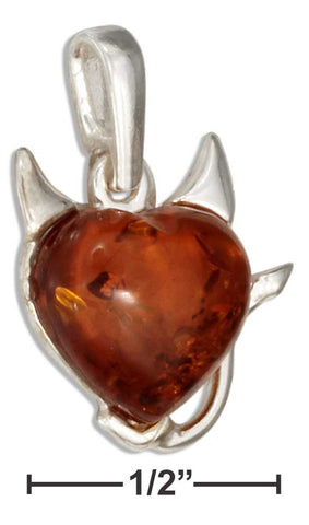 Sterling Silver Baltic Amber Heart Devil Pendant | Jewelry Store