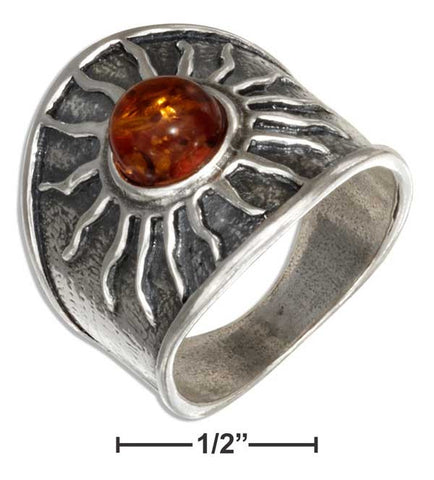 Sterling Silver Baltic Amber Sun Ring | Jewelry Store