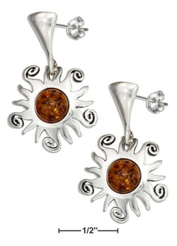 Sterling Silver Post Dangle Earrings With Sun And Baltic Amber | Jewelry Store