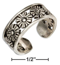 Sterling Silver Open Daisy Flowers Toe Ring | Jewelry Store