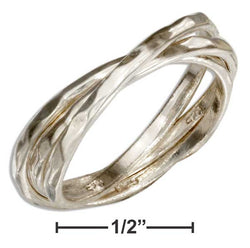Sterling Silver Hammered 3 Band Slide Ring | Jewelry Store