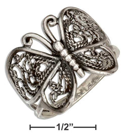 Sterling Silver Antiqued Filigree Butterfly Ring | Jewelry Store
