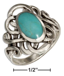 Sterling Silver Oval Simulated Blue-Green Stone Ring With Celtic Loops | Jewelry Store